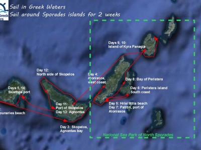 Sailing itinerary for two weeks holidays in the Sporades islands