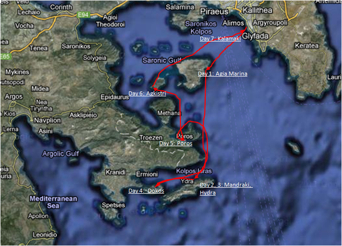 Chart of the Sailing Cruise in the Saronic Gulf