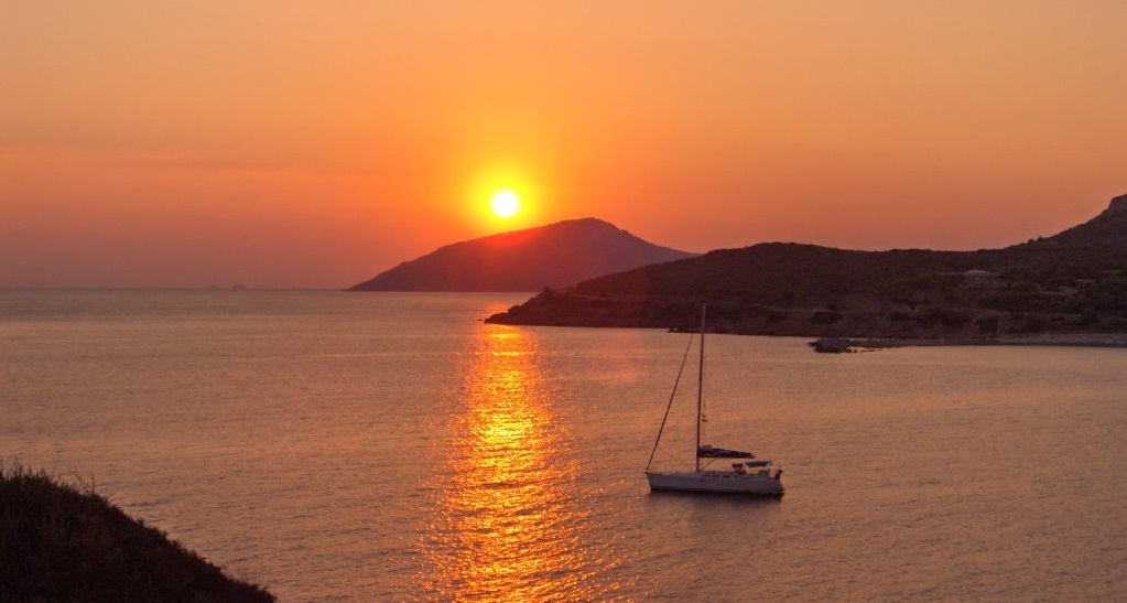 Cape Sounion - Sunset - sailboat