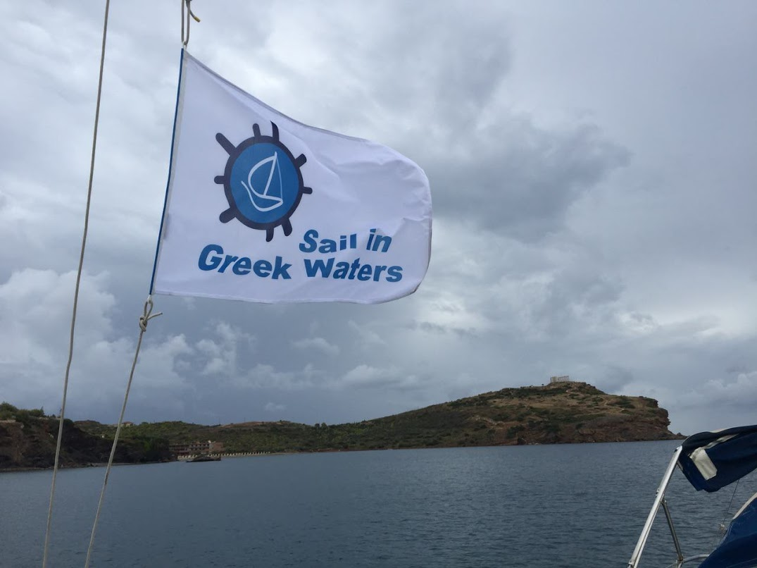 Poseidon Temple from a sailing yacht - In Cape Sounion | Sail in Greek Waters