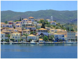 Sailing in Greek islands: Detail of the port of Poros